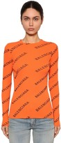 Balenciaga Crewneck Logo Print Rib Knit Sweater