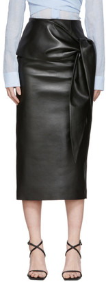MATÉRIEL Black Faux-Leather Waist Tie Skirt