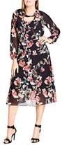 City Chic Sheer Divine Floral Print Midi Dress