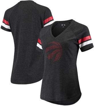 G Iii Women's G-III 4Her by Carl Banks Black Toronto Raptors Triple Double Rhinestone Tri-Blend V-Neck T-Shirt