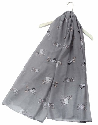 Animal Crackers Ladies French Bulldog design Scarf Sarong in Grey cotton mix Frenchie lover gift