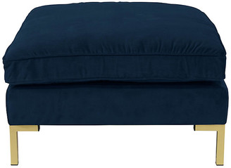 One Kings Lane Marceau Ottoman - Navy Velvet