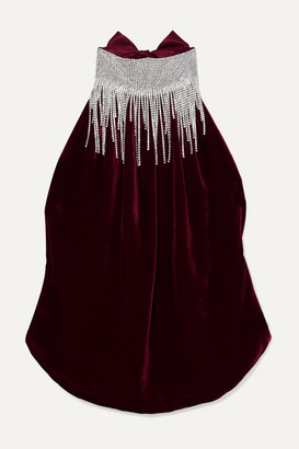 HARMUR Open-back Crystal-embellished Silk-velvet And Satin Halterneck Top - Burgundy