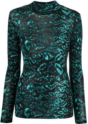 Diane von Furstenberg Remy mesh long-sleeve top