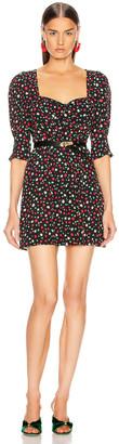 Rixo Larissa Dress in Red & Green Floral | FWRD