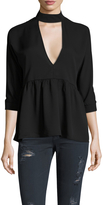 Lucca Couture Women's Neck Band Peplum Blouse