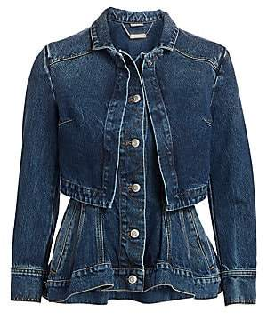 Alexander McQueen Women's Vintage Double Layer Denim Peplum Jacket