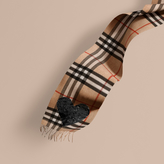 Burberry The Classic Cashmere Scarf in Check with Sequined Heart