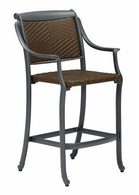 "Tropitone BelMar 28"" Patio Bar Stool Frame Color: Graphite, Seat Color: Carob Diamond Weave"