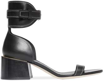 Burberry Gold-plated Detail Leather Block-heel Sandals