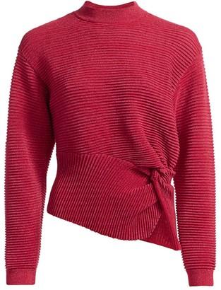 Mason by Michelle Mason Ribbed Metallic Wool Twist Sweater