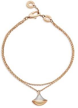 Bvlgari Divas' Dream 18K Rose Gold & Mother-Of-Pearl Pendant Double-Strand Bracelet