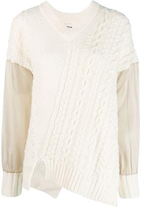 Zucca asymmetric cable knit jumper