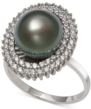 Macy's Black Cultured Tahitian Pearl (10mm) & Cubic Zirconia Ring in Sterling Silver