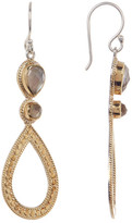 Anna Beck 18K Gold Plated Sterling Silver Smokey Quartz Doublet Accented Dangling Teardrop Earrings