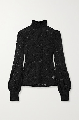 L'Agence Samara Stretch-lace Turtleneck Blouse - Black