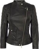 Karen Millen Black Leather Biker Jacket - Black