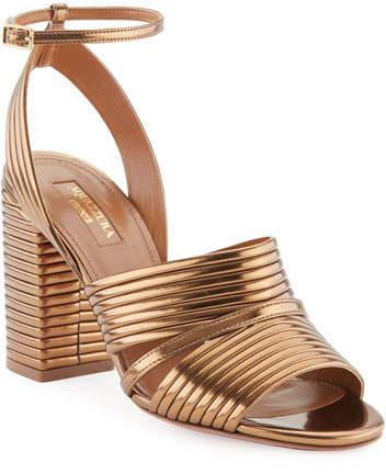 Aquazzura Sundance Metallic Leather Block-Heel Sandal, Antique Gold