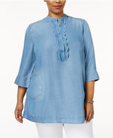 Melissa McCarthy Trendy Plus Size Ruffled Chambray Tunic