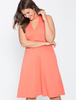 ELOQUII Plus Size Cutout Fit and Flare Ponte Dress