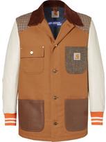 Junya Watanabe Carhartt Corduroy-Trimmed Leather, Canvas and Tweed Chore Jacket
