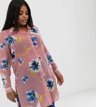 Junarose floral sheeR longline shirt-Multi