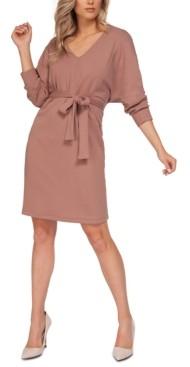 Black Tape Dolman-Sleeve Ribbed Midi Dress