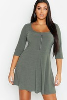 Plus Soft Rib Zip Front Skater Dress