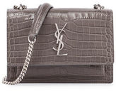 Saint Laurent Sunset Monogram Small Crocodile-Embossed Wallet on a Chain