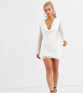 Starlet long sleeve deep cowl neck dress with pearl embellishment