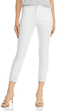 7 For All Mankind JEN7 by Eyelet Hem Skinny Ankle Jeans in White