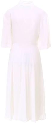 Off-White Pleated Waist Tie Midi Dress