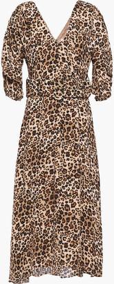 Nicholas Belted Leopard-print Silk-crepe Midi Dress