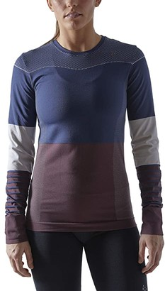 Craft Fuseknit Comfort Blocked Round Neck Long Sleeve (Beat/Peak) Women's Clothing