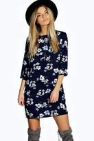 boohoo Lucia Floral Print 3/4 Sleeve Shift Dress