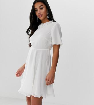 Asos DESIGN Petite crop top embellished neckline mini dress