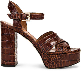 Paris Texas Moc Croco Platform Sandal in Brown | FWRD