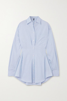 Unravel Project Pinstriped Cotton-poplin Mini Shirt Dress - Light blue
