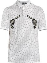 Dolce & Gabbana Gun-embroidered appliqué cotton polo shirt