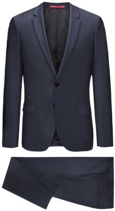 BOSS Navy Blue Sharkskin Two Button Notch Lapel Wool Suit