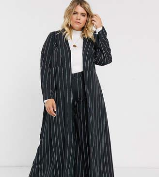 Verona Curve maxi duster jacket in pin stripe-Black