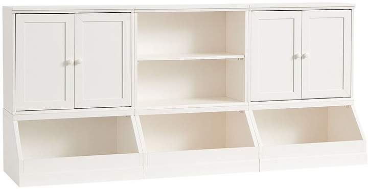 Pottery Barn Kids Cameron 3 Market Bin Base, 1 Bookcase Cubby, and 2 Wood Cabinets, Simply White
