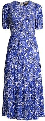 MICHAEL Michael Kors Paisley Smocked Midi Dress