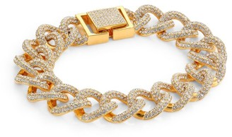 Adriana Orsini Cubic Zirconia Pave & 18K Yellow Goldplated Curb Link Bracelet