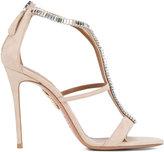 Aquazzura Nude Crystal Constance Heels - women - Leather/Suede/glass - 40.5