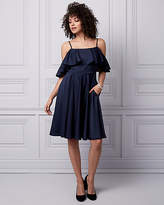 Le Château Satin Cold Shoulder Dress