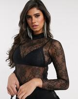 Asos DESIGN lace high neck bodysuit in black