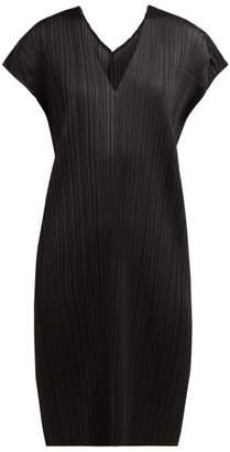 Pleats Please Issey Miyake V Neck Tech Pleated Tunic Dress - Womens - Black