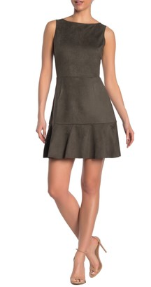 Love...Ady Faux Suede Sleeveless Flounced Fit & Flare Dress