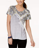 Style&Co. Style & Co Printed Scoop-Neck T-Shirt, Created for Macy's